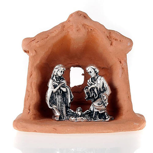Nativity set of clay with church 6 cm 2