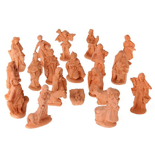 Nativity set natural clay 20 figurines 10 cm 1