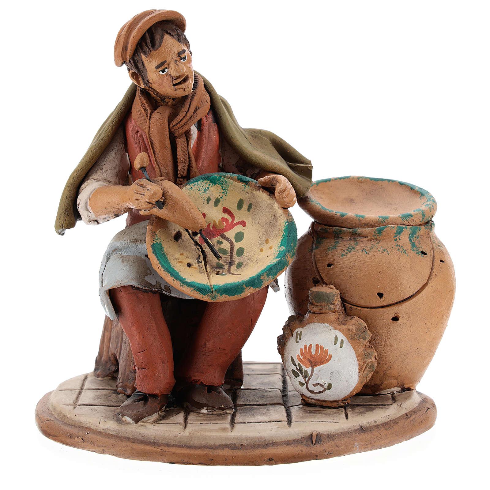 Santon crèche de Noël décorateur d'assiettes terre cuite 18cm 4