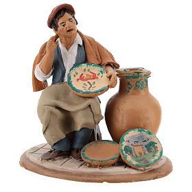 Santon crèche de Noël décorateur d'assiettes terre cuite 18cm s6