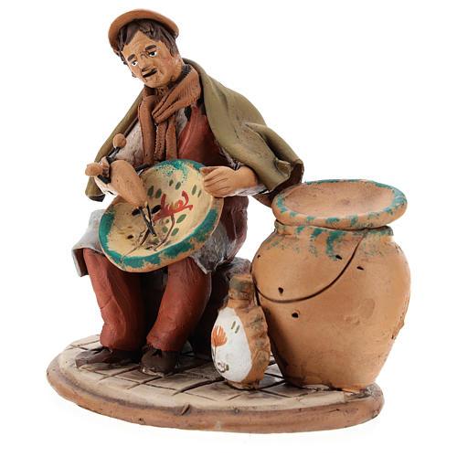 Santon crèche de Noël décorateur d'assiettes terre cuite 18cm 3