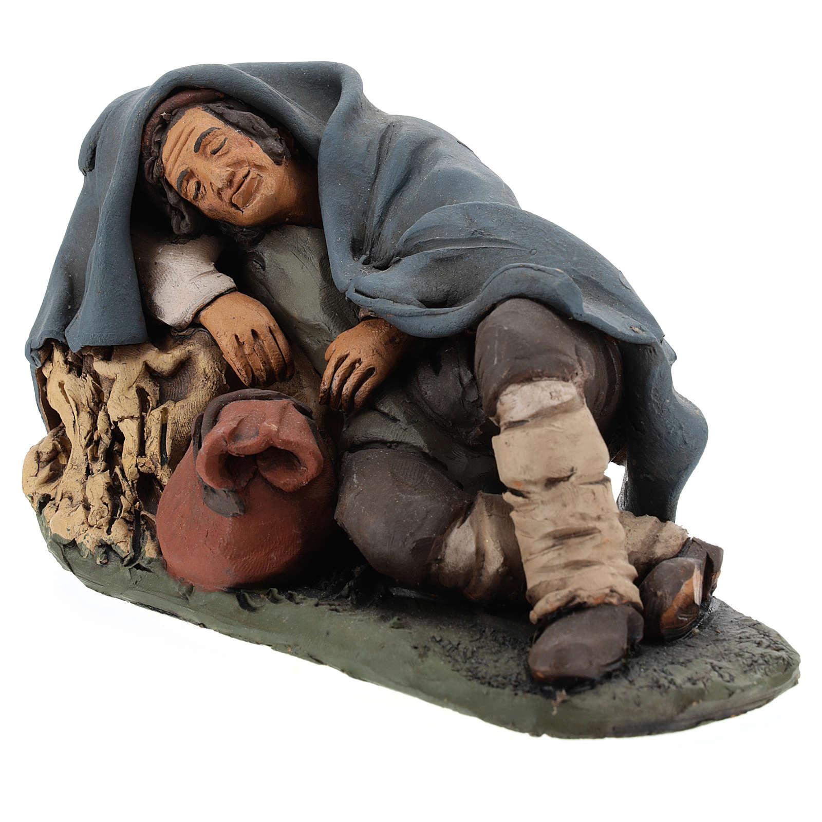 Nativity set accessory shepherd asleep clay, 18cm 4