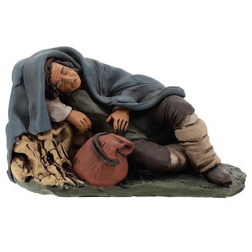 Nativity set accessory shepherd asleep clay, 18cm 1