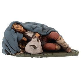 Santon crèche de Noël berger qui dort terre cuite 18cm s6