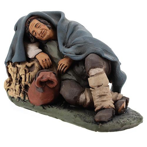 Santon crèche de Noël berger qui dort terre cuite 18cm 3