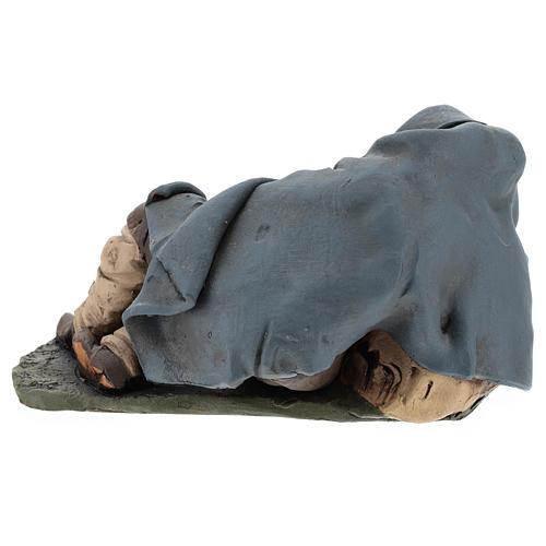 Santon crèche de Noël berger qui dort terre cuite 18cm 5
