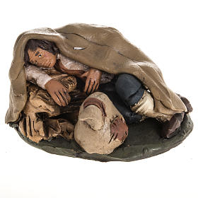 Nativity set accessory shepherd asleep clay, 18cm s1