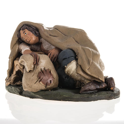 Nativity set accessory shepherd asleep clay, 18cm 2