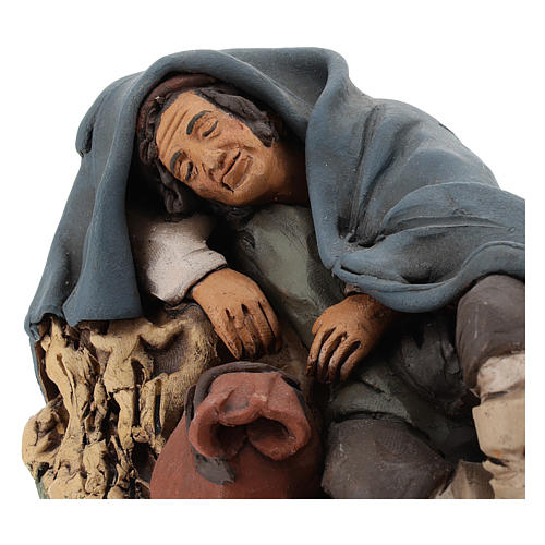 Nativity set accessory shepherd asleep clay, 18cm 2