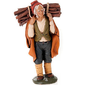 Terracotta Nativity Scene figurines from Deruta: Nativity set accessory, man with firewood clay figurine