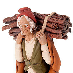 Nativity set accessory, man with firewood clay figurine s3