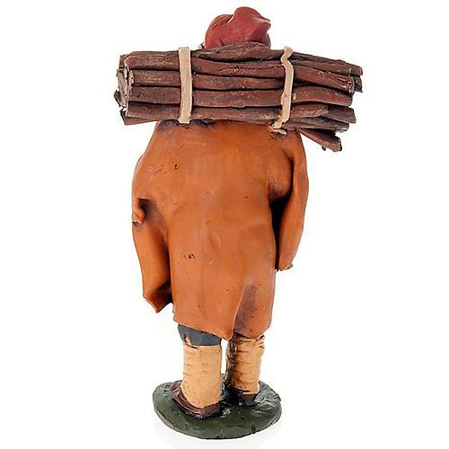Nativity set accessory, man with firewood clay figurine 2
