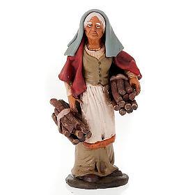 Donna con legna terracotta presepe 18 cm s1