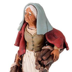 Donna con legna terracotta presepe 18 cm s3