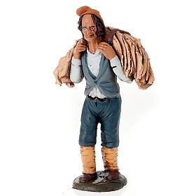 Uomo con fieno terracotta presepe 18 cm s1