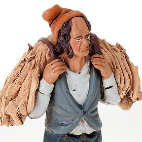Uomo con fieno terracotta presepe 18 cm s3