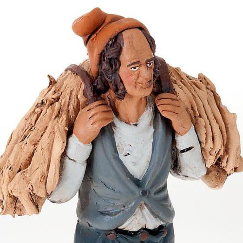 Uomo con fieno terracotta presepe 18 cm 3