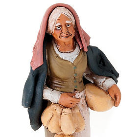 Nativity set woman with cheese terracotta clay s3