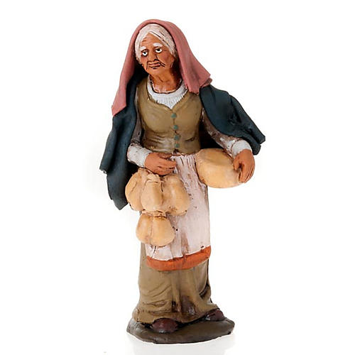 Nativity set woman with cheese terracotta clay 1