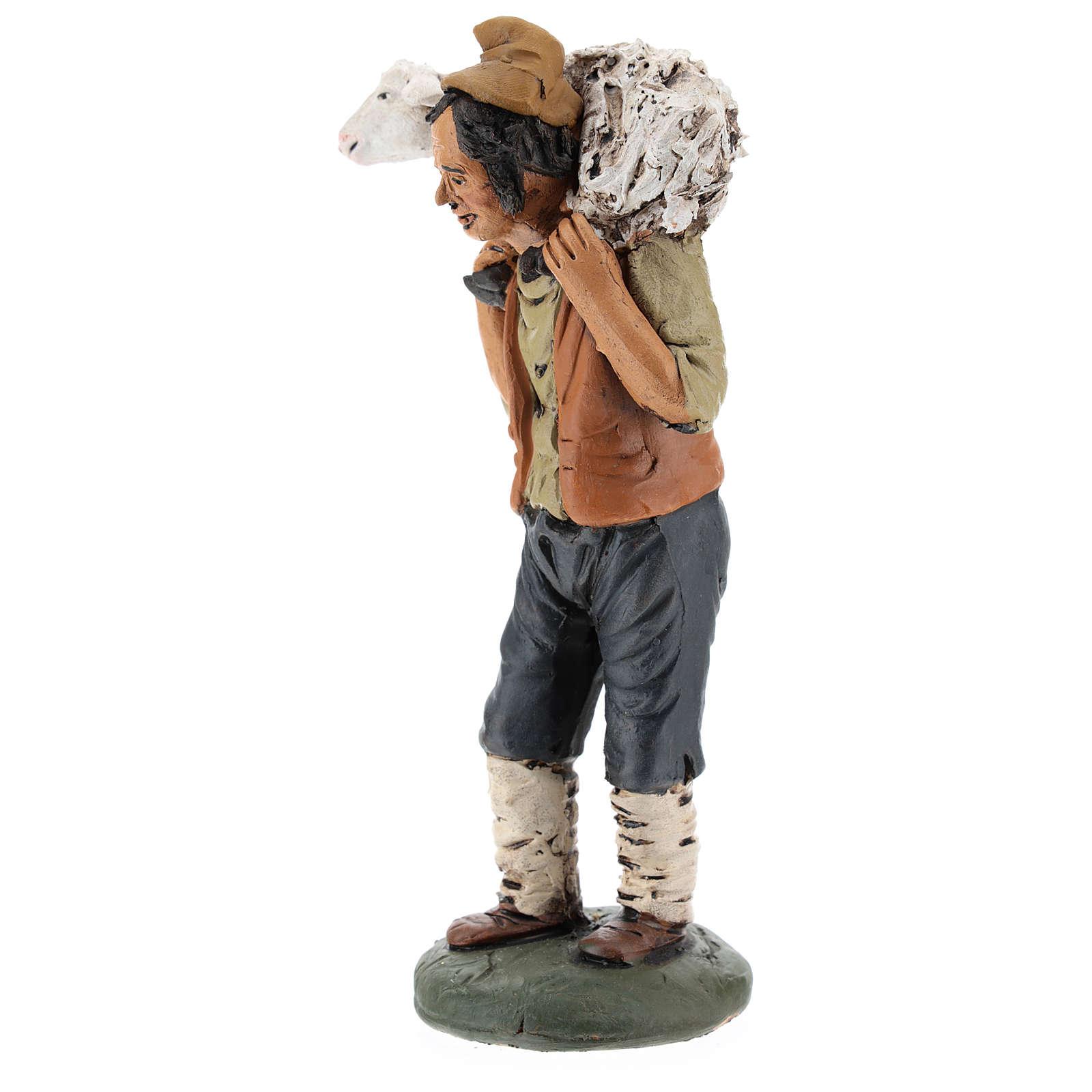 Pastore in terracotta presepe 18 cm 4