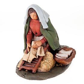 Santon crèche de Noël lavandière terre cuite s1