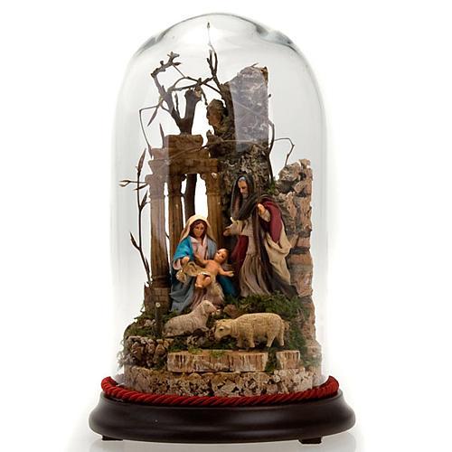 STOCK - Natività campana di vetro h 26 cm 1