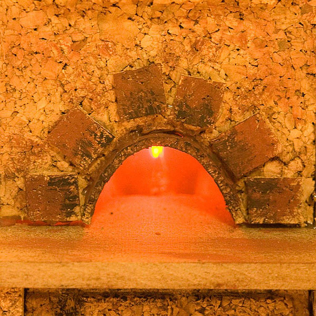 Forno presepe effetto fuoco con mensole e cappa 20X14X16 4
