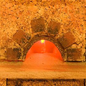 Forno presepe effetto fuoco con mensole e cappa 20X14X16 s2