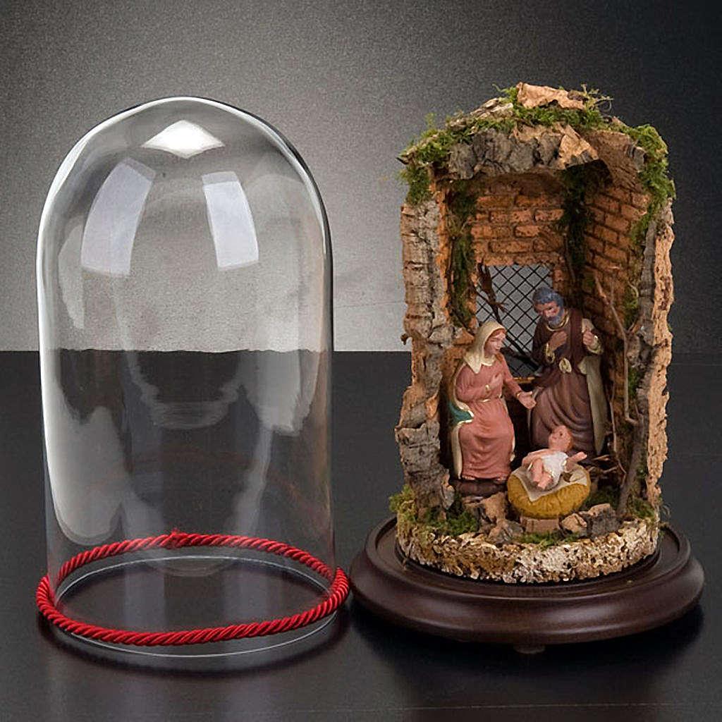 STOCK - Natività campana di vetro con ambientazione h 26 cm 3