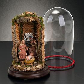 STOCK - Natività campana di vetro con ambientazione h 26 cm s2