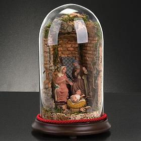 STOCK - Natività campana di vetro con ambientazione h 26 cm s5