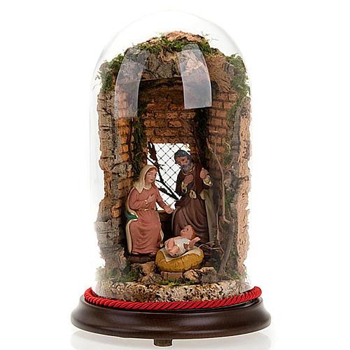 STOCK - Natività campana di vetro con ambientazione h 26 cm 1