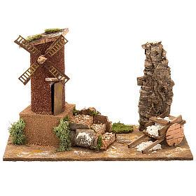 STOCK -Molino de viento para el pesebre con carreta, 31x17x24 s1