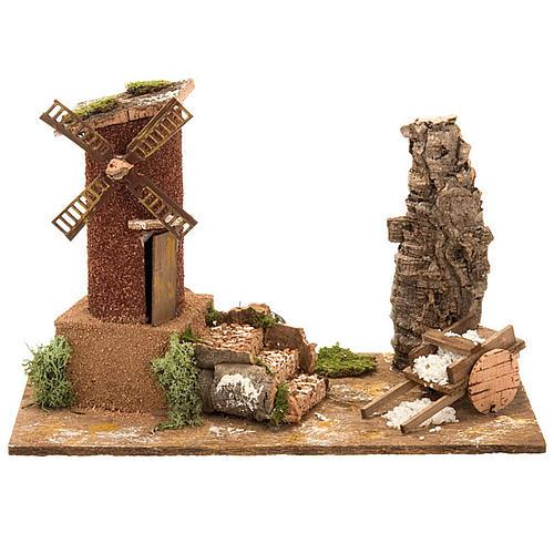 STOCK -Molino de viento para el pesebre con carreta, 31x17x24 1