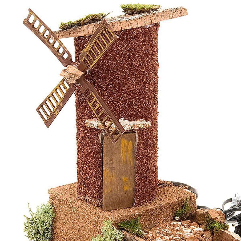 STOCK - Mulino a vento per presepe con carro 31X17X24 4