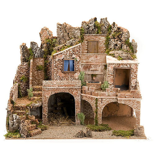 STOCK - Grotta presepio con fontana 70X50X37 1