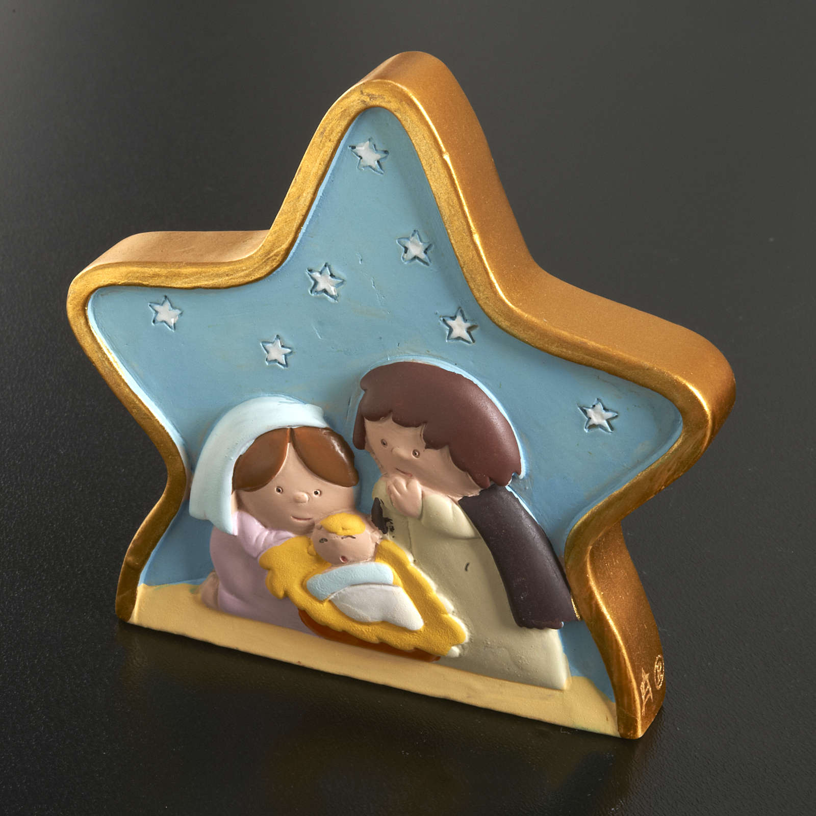 Natività su stella in resina dipinta 3