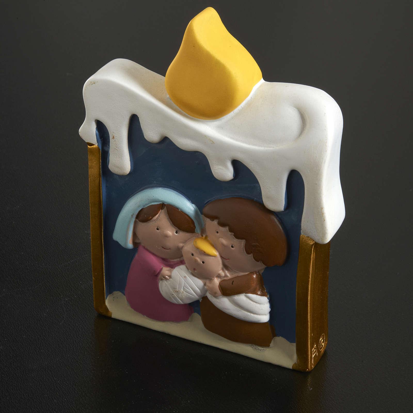 Natività su candela in resina dipinta 3