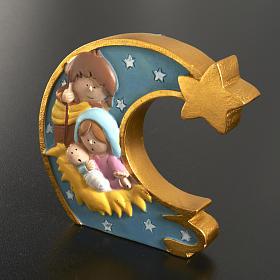 Natività su luna in resina dipinta s2