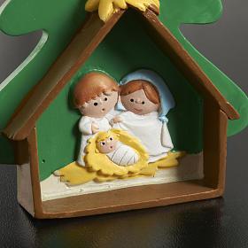 Natività su albero di Natale in resina dipinta s3
