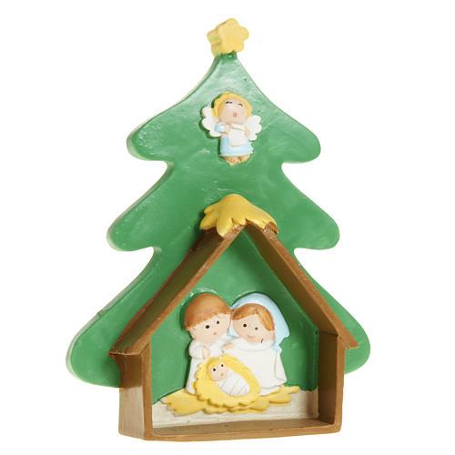 Natività su albero di Natale in resina dipinta 1