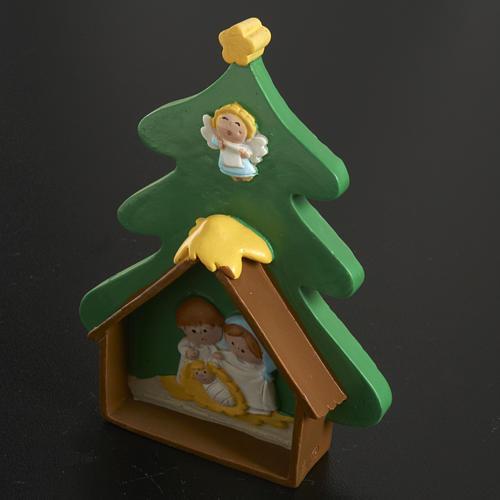 Natività su albero di Natale in resina dipinta 2
