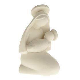 Vierge Marie stylisée et enfant céramique 10 cm s1