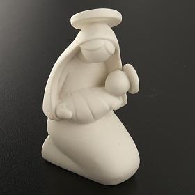 Vierge Marie stylisée et enfant céramique 10 cm s2