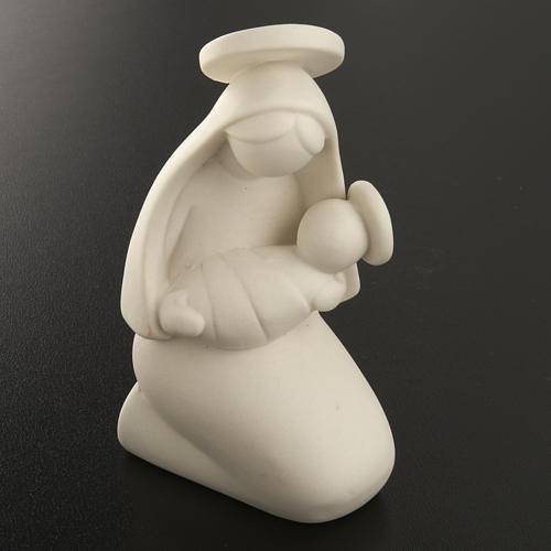 Vierge Marie stylisée et enfant céramique 10 cm 2