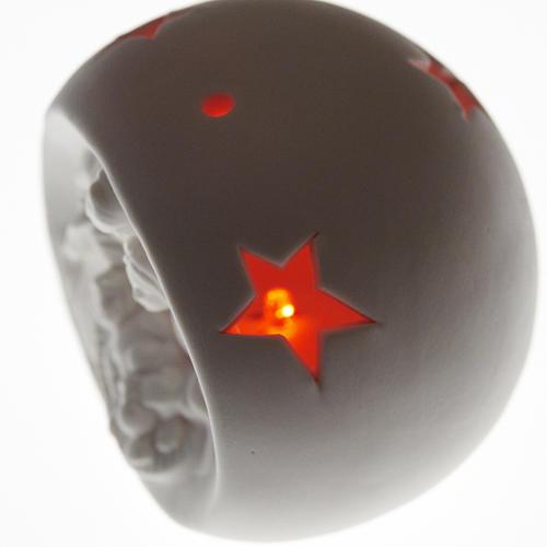 Natividad esfera cerámica luz les colorada 2