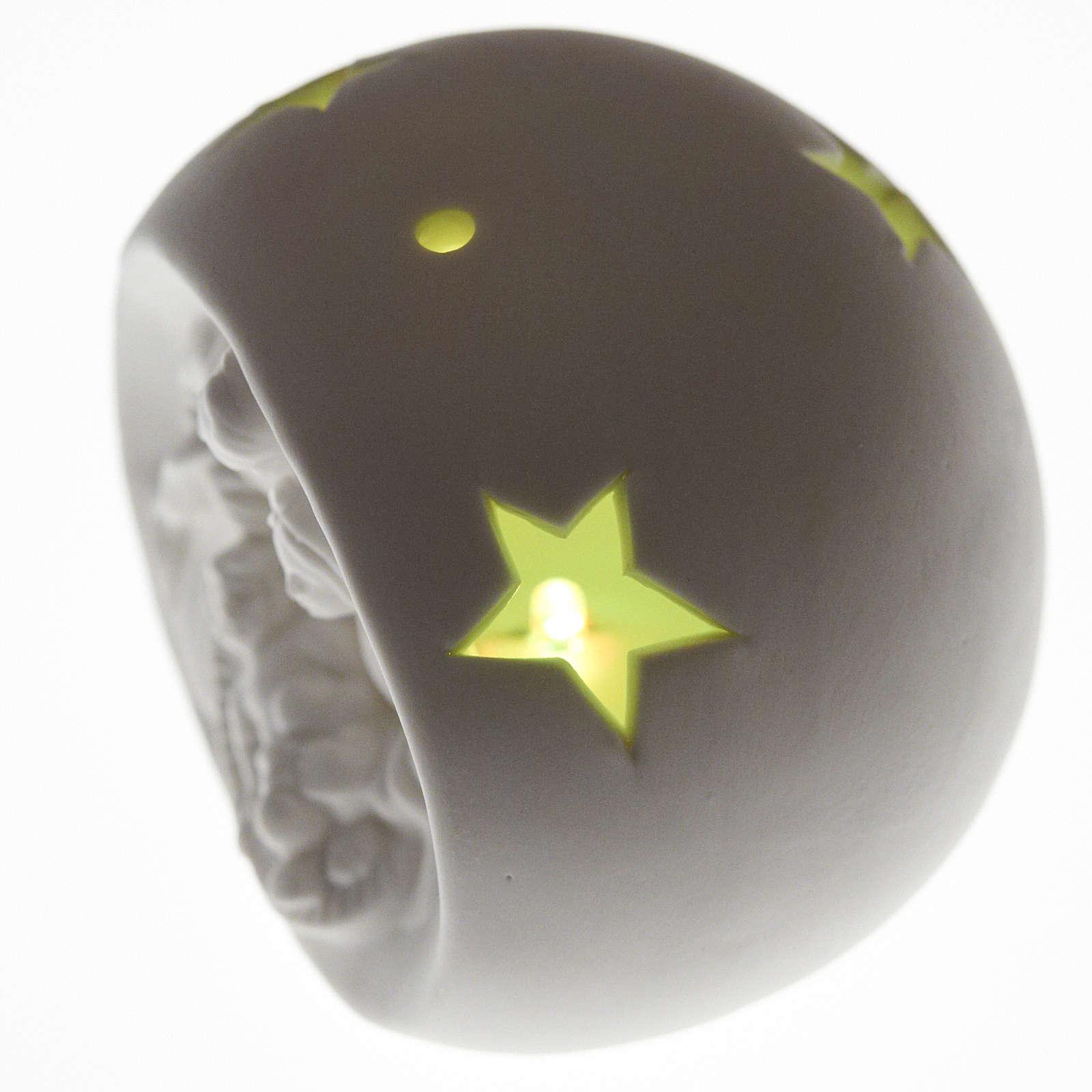Natività sfera ceramica luce led colorata 3