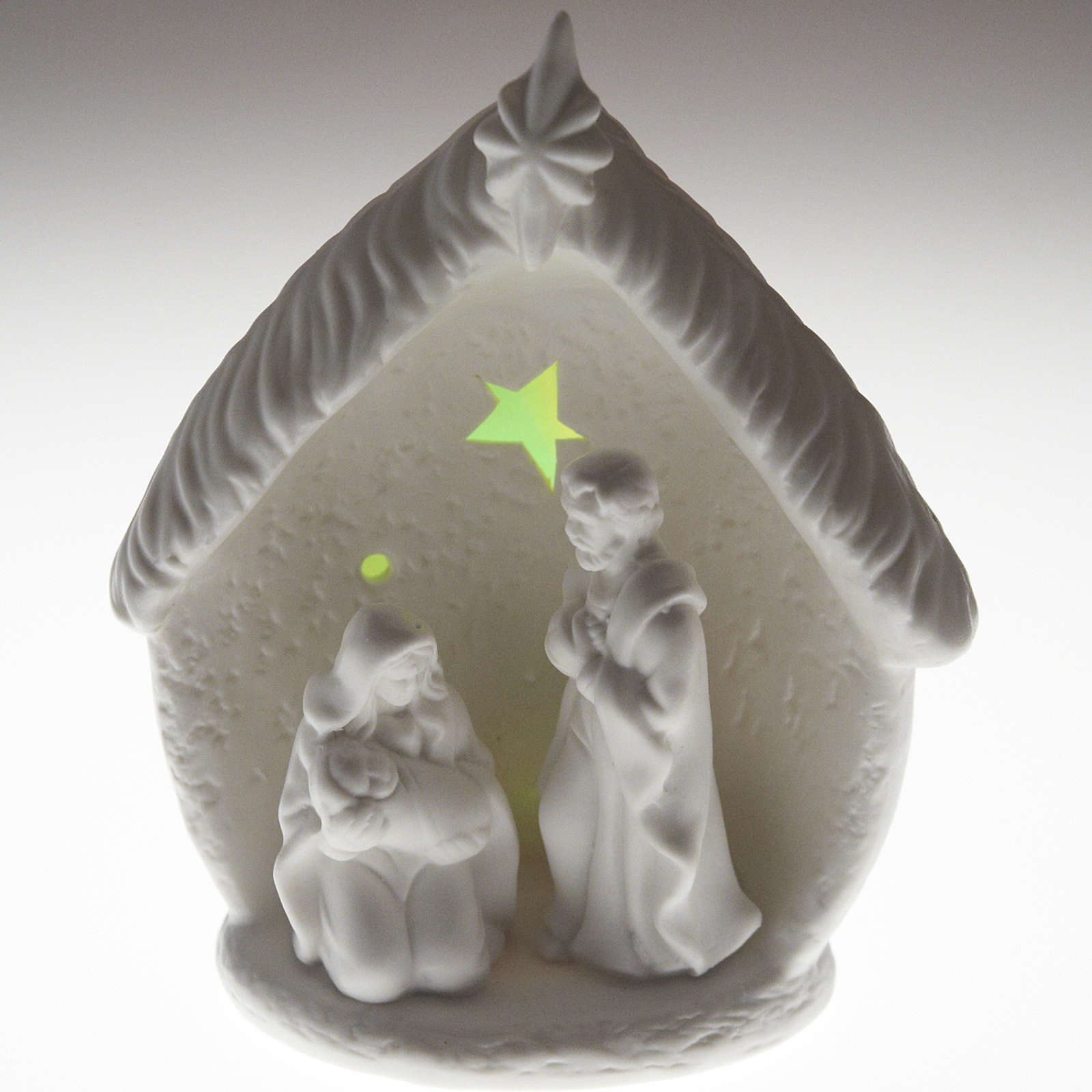 Natività illuminata con capanna ceramica 3