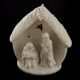 Natività illuminata con capanna ceramica s2