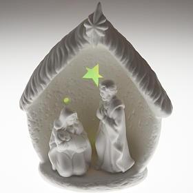 Natività illuminata con capanna ceramica s5